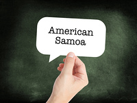 American Samoa written on a speechbubble