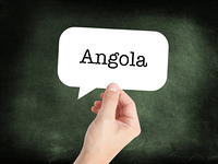 Angola written on a speechbubble