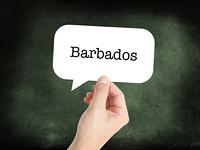 Barbados written on a speechbubble