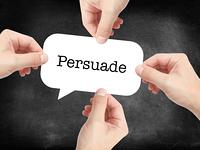 Persuade written on a speechbubble