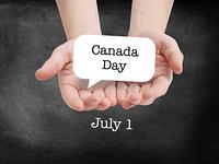 Canada day written on a speechbubble