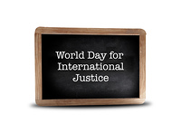World Day for International Justice on a blackboard