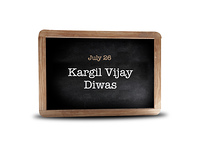 Kargil Vijay Diwas on a blackboard