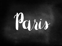 Paris written on a chalkboard