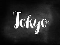 Tokyo written on a chalkboard
