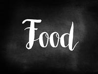 Food written on a blackboard