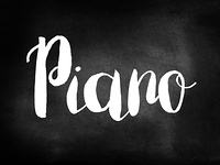 Piano written on blackboard
