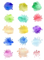 Set of abstract vector watercolor blots for design