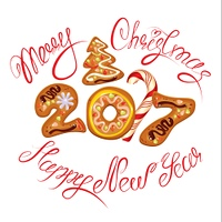 Hand written calligraphic text Merry Christmas and Happy New Year 2017 in gingerbread shape, isolated on white background. Year number as cookies. Winter holidays design element for cards, invitation.