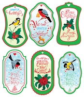 Set of vertical banners or labels with calligraphic text, holly berries and bullfinch birds on light blue or yellow background. Images for Christmas and New Year design.