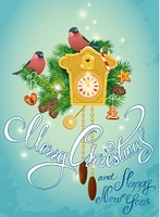 Holidays Card with vintage wooden Cuckoo Clock, xmas gingerbread, candy, fir-tree branches and bullfinch birds. Hand written calligraphic text Merry Christmas and Happy New Year on blue frozen background.