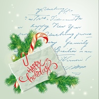 Merry Christmas and Happy New Year Card with fir-tree branches, candy and paper with calligraphic text Happy Holidays on old fashion letter background.