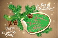 Holiday greeting Card with oval paper frame, canes and fir-tree branches. Hand written calligraphic text Merry Christmas and Happy New Year, Warm winter wishes on old paper background.