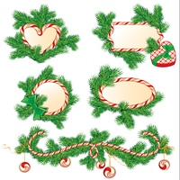 Set of fir-tree branches, Candy frames and borders, elements for winter holidays design, isolated on white background. Merry Christmas and Happy New Year theme.