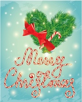 Holiday greeting Card with xmas candy and fir-tree branches in heart shape. Hand written calligraphic text Merry Christmas on frosen winter background.