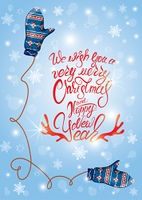 Greeting card with cute blue knitted mitten pair and snowflakes. Calligraphic Hand drawn text We wish you a very Merry Christmas and Happy New Year. Winter holidays design.