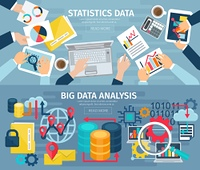 Big Data Flat Horizontal Banners Set. Big data analysis and database statistic systems 2 flat banners with computers laptops abstract isolated illustration vector