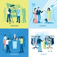 Pressman And Journalist Concept Icon Set. Pressman and journalist concept icon set  interview dresser operator vector illustration