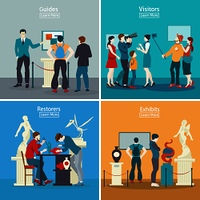 People In Museum And Gallery 2x2 Design Concept. People in museum and gallery 2x2 design concept with exhibits restorers guides and visitors flat vector illustration