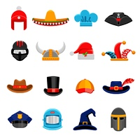 Funny Headwear Flat Icons Set. Funny party costume historical and professional headwear flat icons set with cosmonaut spacesuit abstract isolated vector illustration