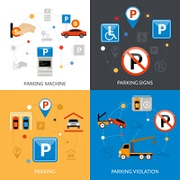 Parking Icons Set. Icon isolated flat conceptual parking set with different aspects of parking process vector illustration