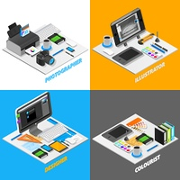 Graphic Design Concept Isometric Set.  Graphic design concept isometric icons set with photography symbols isolated vector illustration