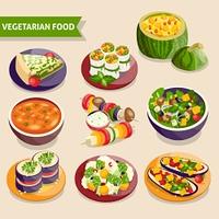Vegetarian dishes set. Vegetarian dishes set with fresh vegetable food isolated vector illustration