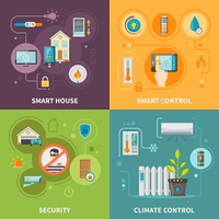 Systems Of Control In Smart House. Systems of control in smart house safety of property and change in home climate isolated vector illustration