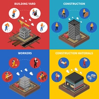 Construction Isometric Concept Icons Set . Construction Isometric Concept. Builder Icons Set. Building Industry Vector Illustration. Construction Industry Symbols. Construction Design Set.Construction  Elements Collection.