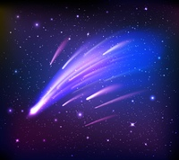 Space Scene With Comets Background. Space scene with falling comets on background with stars and dark sides flat vector illustration