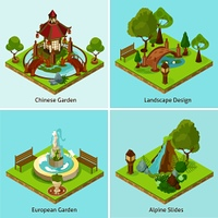 Isometric 2x2 Landscape Design Concept.  Isometric 2x2 chinese garden european garden and alpine slides landscape design concept isometric isolated vector illustration