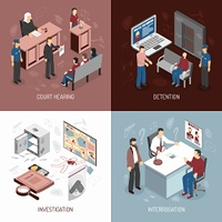 Law System Isometric Concept. Law system isometric concept with arrest of criminals court hearing investigation interrogation isolated vector illustration