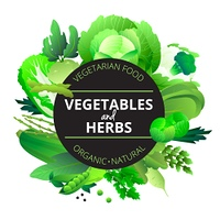 Vegetables Herbs Round Green Frame . Natural organic vegetables and herbs round frame with cabbage courgette celery and pea green abstract vector illustration