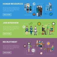 Recruitment HR People Horizontal Banners. Recruitment HR people discussing projects  interviewing and searching for applicants horizontal flat banners vector illustration