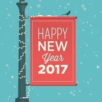 Happy new year 2017 card, street sign, editable vector design