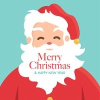 Christmas card with Santa Claus. Editable vector design.