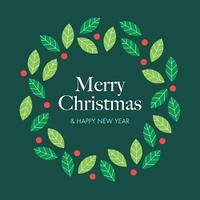 Christmas card with wreath mistletoe. Editable vector design.
