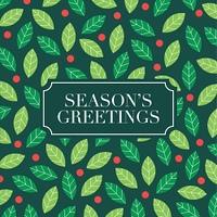 Season Greetings card with mistletoe background. Editable vector design.