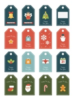 New year 16 labels. Festive for a gift. The winter decor isolated for the print. Vector