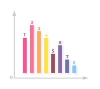 Level Chart with Colored Arrows. Level chart with colored arrows. Colored arrows indicate the level number. Charts and graphs business template for statistical or financial data report. Infographic information. Vector illustration