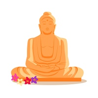 Buddha Statue Illustration in Flat Design.. Travelling India famous historical attractions vector. Summer vacation in exotic countries concept. Buddha Statue in flat design. Acient Indian buddhist architecture illustration. Isolated on whitre.