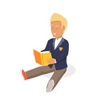 Young Black Haired Man Enjoying Reading Big Book. Young blonde haired man student happy enjoying reading big thick book. Student sits and reads a book. Boy is a reading big book. Reading kid. Reading student. Kid reading open book sitting on floor