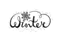 Winter text lettering with snowflake. Seasonal shopping concept to design banners, price or label. Isolated vector illustration.