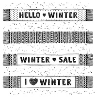 Winter Special banner or label with knitted woolen scarves. Business seasonal shopping concept sale.. Winter Special banner or label with knitted woolen scarves. Business seasonal shopping concept sale. Isolated vector illustration.