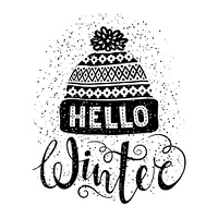 Hello winter text and knitted woolen cap. Seasonal shopping concept design for banner or label.. Hello winter text and knitted woolen cap. Seasonal shopping concept design for banner or label. Isolated vector illustration.