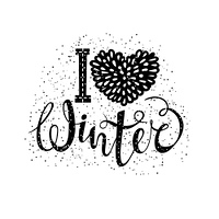 I love winter text element lettering. Seasonal shopping concept to design banners, price or label. Isolated vector illustration.