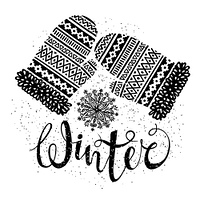 Winter text and knitted woolen mittens with snowflakes. Seasonal shopping concept for design cards or labels.. Winter text and knitted woolen mittens with snowflakes. Seasonal shopping concept for design cards or labels. Isolated vector illustration.