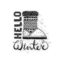 Hello winter lettering text Brush and boots. Seasonal shopping concept design for the banner or label.. Hello winter lettering text Brush and boots. Seasonal shopping concept design for the banner or label. Isolated vector illustration.
