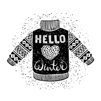 Hello winter text and knitted wool pullover with a heart. Seasonal shopping concept design for the banner or label.. Hello winter text and knitted wool pullover with a heart. Seasonal shopping concept design for the banner or label. Isolated vector illust