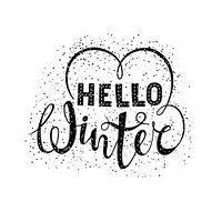 Hello winter text lettering with heart element. Seasonal shopping concept to design banners, price or label. Isolated vector illustration.